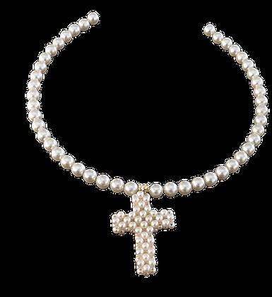 Pearl Choker Cross Charm