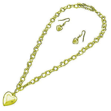 Gold Heart Necklace Matching Earrings