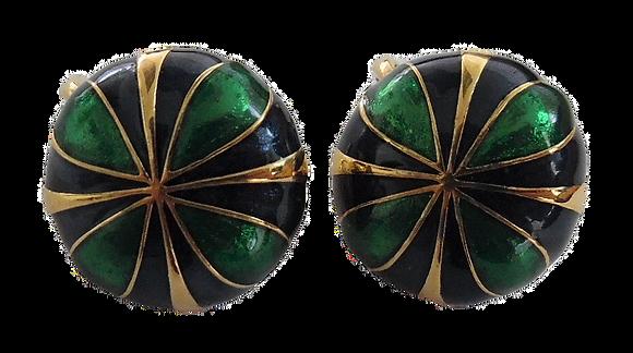Vintage D'Orlan Clip-Ons Dark Blue Green