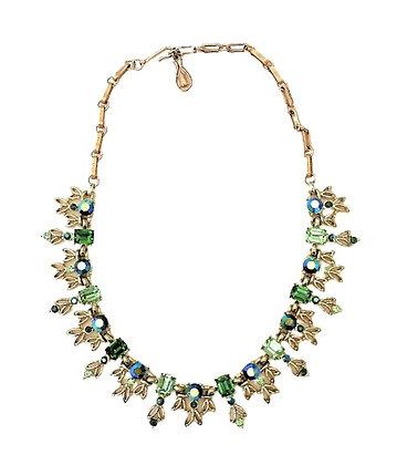 Gold Embellished Choker Necklace AB Blue Green