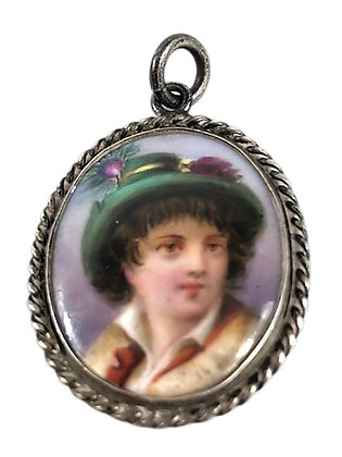 Victorian Hand Painted Pendant