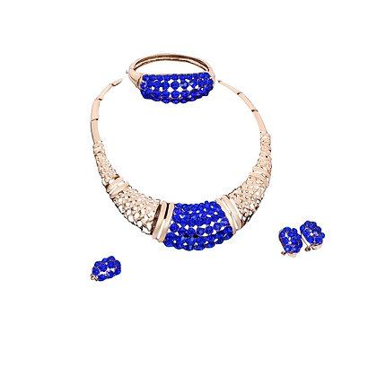 Blue Gold Tribal Jewellery Set Royal Blue