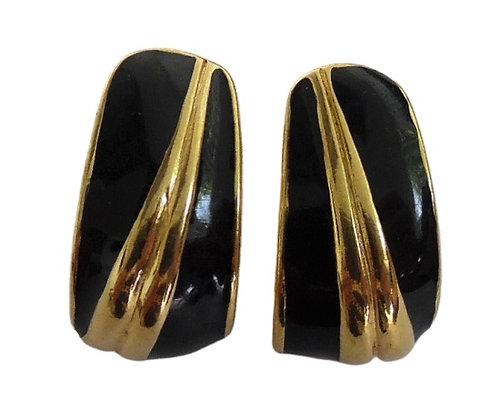 Vintage Napier Earrings Black Gold