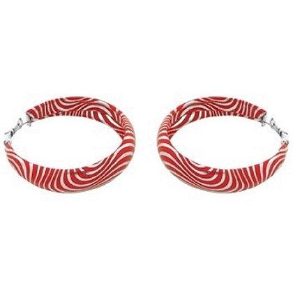 50MM Red & Silver Retro Earrings