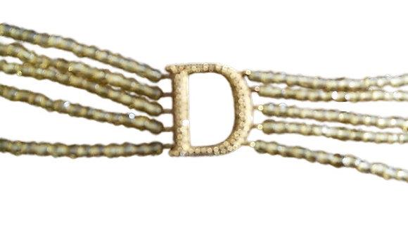 Vintage Christian Dior Logo Choker Necklace Gold Multi Strand
