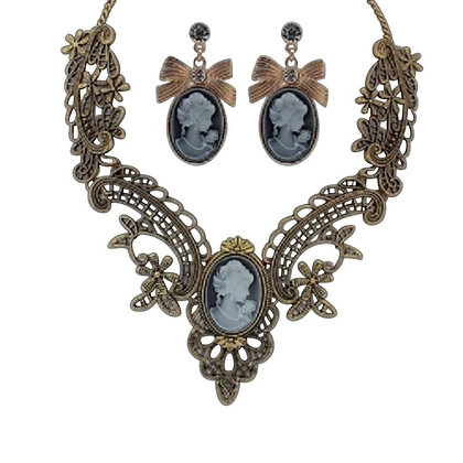 Large Cameo Necklace & Earrings Set