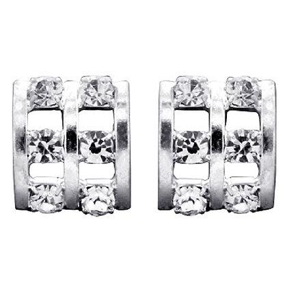 Diamante Square Curved Studs