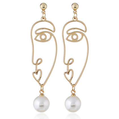 Large Picasso Face Earrings