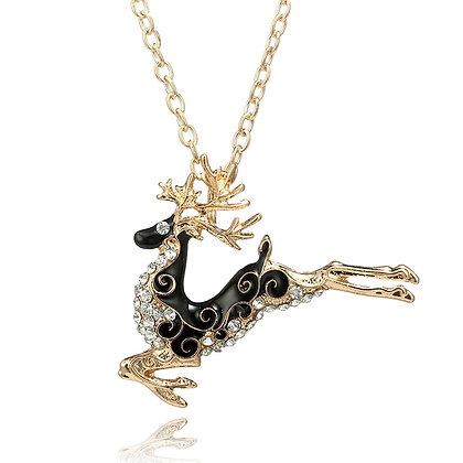 Long Reindeer Necklace Brooch