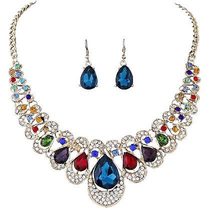 Large Paste Jewellery Set Necklace Earrings