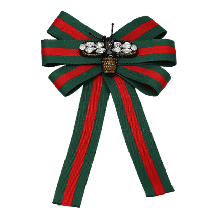 Green Red Stripe Bee Brooch Scarf Clip Tie