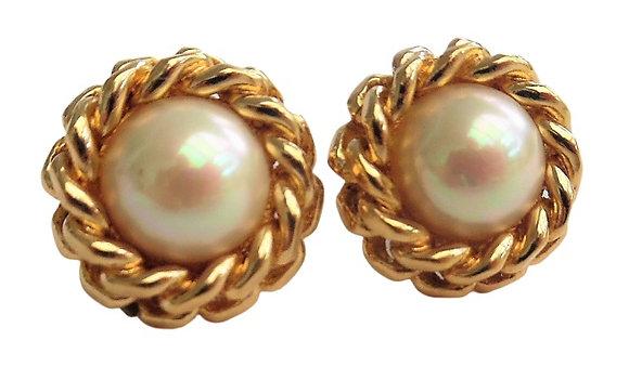 Vintage Dior Pearl Earrings Signed