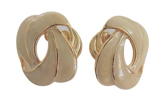 Vintage Napier Earrings Gold Beige