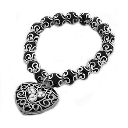 Spirit Black & Silver Charm Bracelet