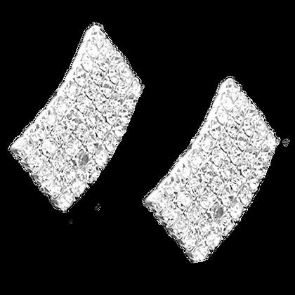 Large Diamante Earrings Curved Rectangular