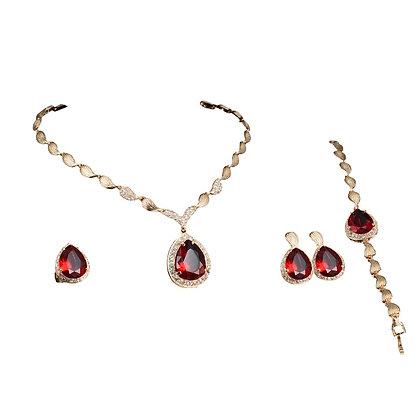 Red Jewellery Set Necklace Bracelet Earrings Ring