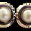 Thumbnail: Vintage Purple Gold Pearl Earrings