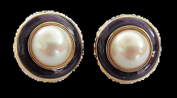 Vintage Purple Gold Pearl Earrings