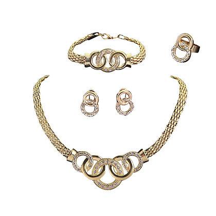 Interlinking Jewellery Set 4 Piece Gold Silver