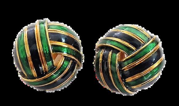 Vintage D'Orlan Earrings Dark Blue Green