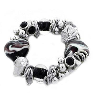 Chunky Heart Bracelet Murano Purple Silver