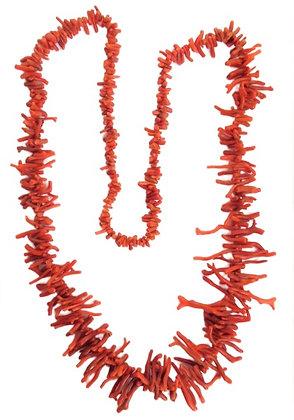 Vintage Coral Necklace Branch Long