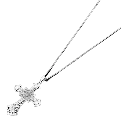 Long Rhinestone Necklace Cross & Chain