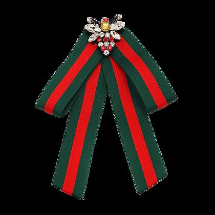 Green Red Stripe Bee Brooch Scarf Tie Clip