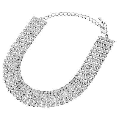 6 Strand Diamante Crystal Choker Necklace