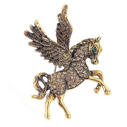 Pegasus Brooch Gold Silver