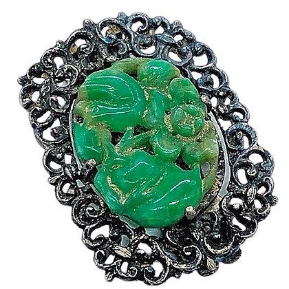 Vintage Oriental Jade Brooch