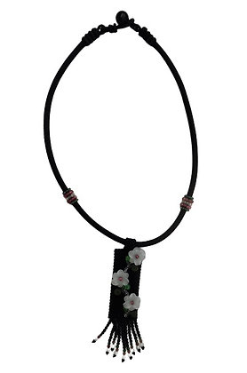 Black Choker Tag Necklace White Flowers