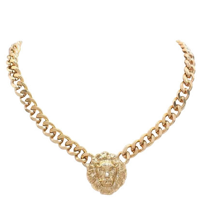 Chunky Lion Necklace Gold Silver