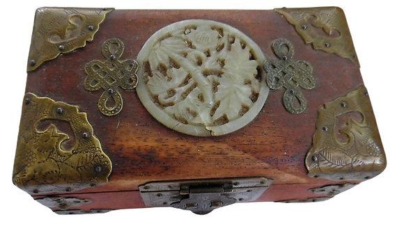 Antique Carved Jade Jewellery Box