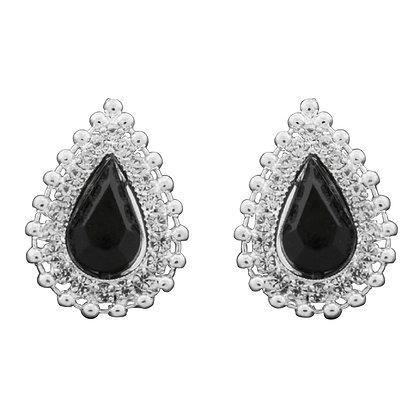 Black Pear Clipon Earrings