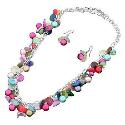 Multicoloured Jewellery Set Necklace Earrings