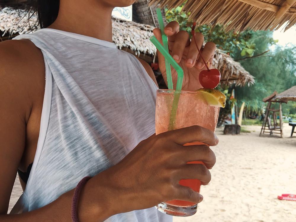 cocktail at beach bar in khao lak