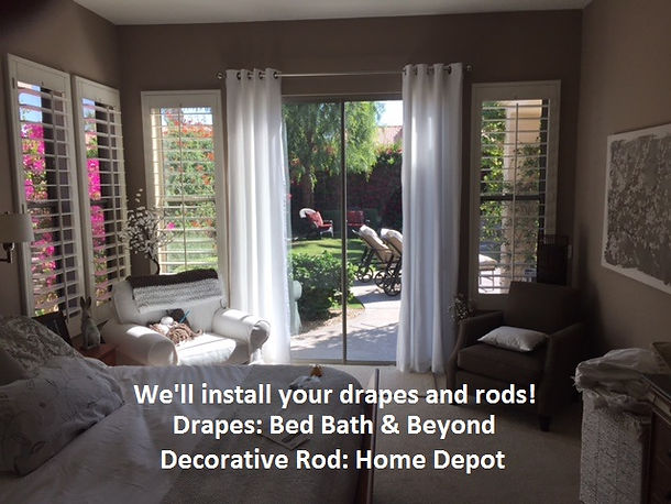 Install drapes & rods