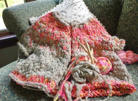 Staying busy at home, one knit stitch at a time.