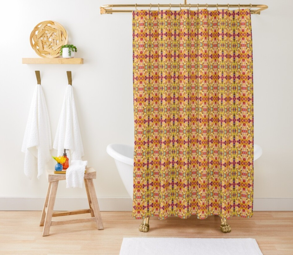 "Shower curtain in Swider ""pansies"" now available."