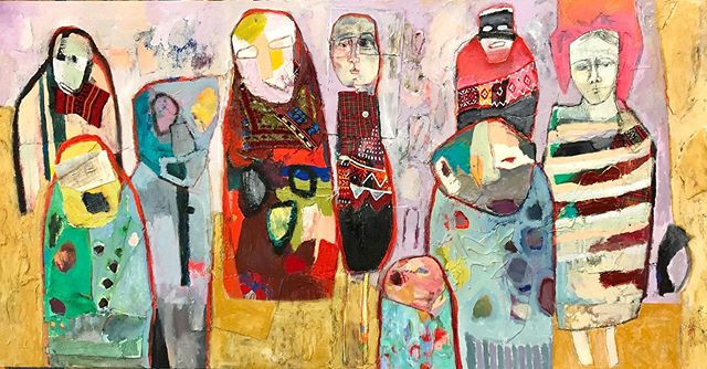 This painting is about the grandmothers protecting my two children. They are the figures with legs, the others are the spirits.
