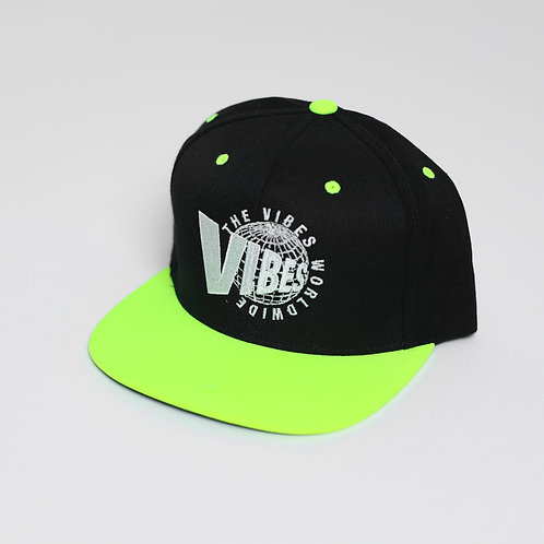 The Vibes World Wide // Fitted // Blk/Neon Green