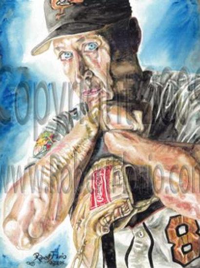 Cal Ripken Junior. My hero. Watercolor. Print.