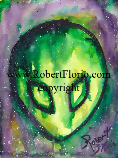 Green Alien Face. original