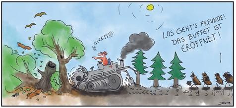 Cartoon - Forstwirtschaft
