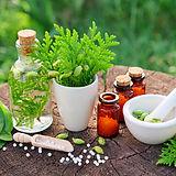 Bottles of homeopathic globules, Thuja o