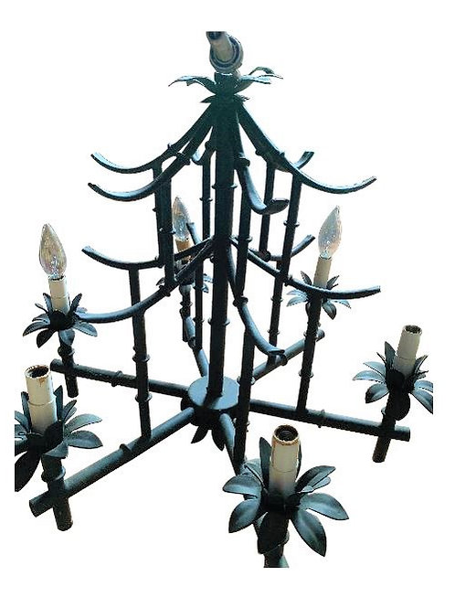 Vintage Chinoiserie Bamboo Chandelier