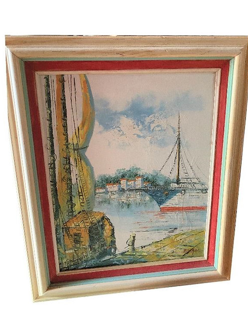 1960's Harbor Painting with Frame