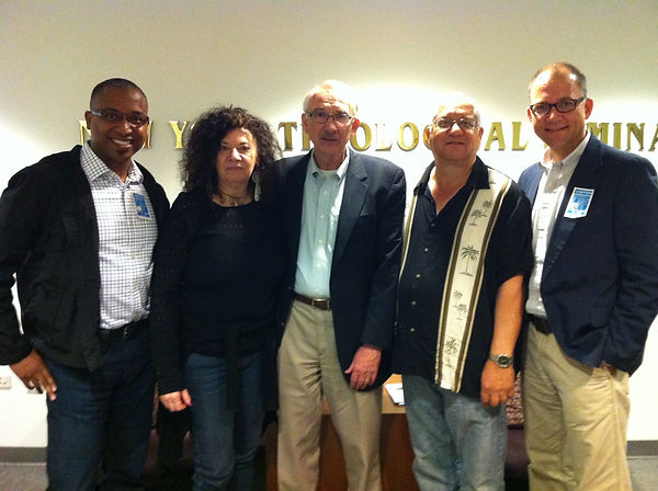 Sympara meets in New York, June 2014, with mentor Keith Russell. From left, Michael-Ray Mathews, Marcie Giarrizzo, Dr. Russell, Desmond Hoffmeister and Daniel Pryfogle.