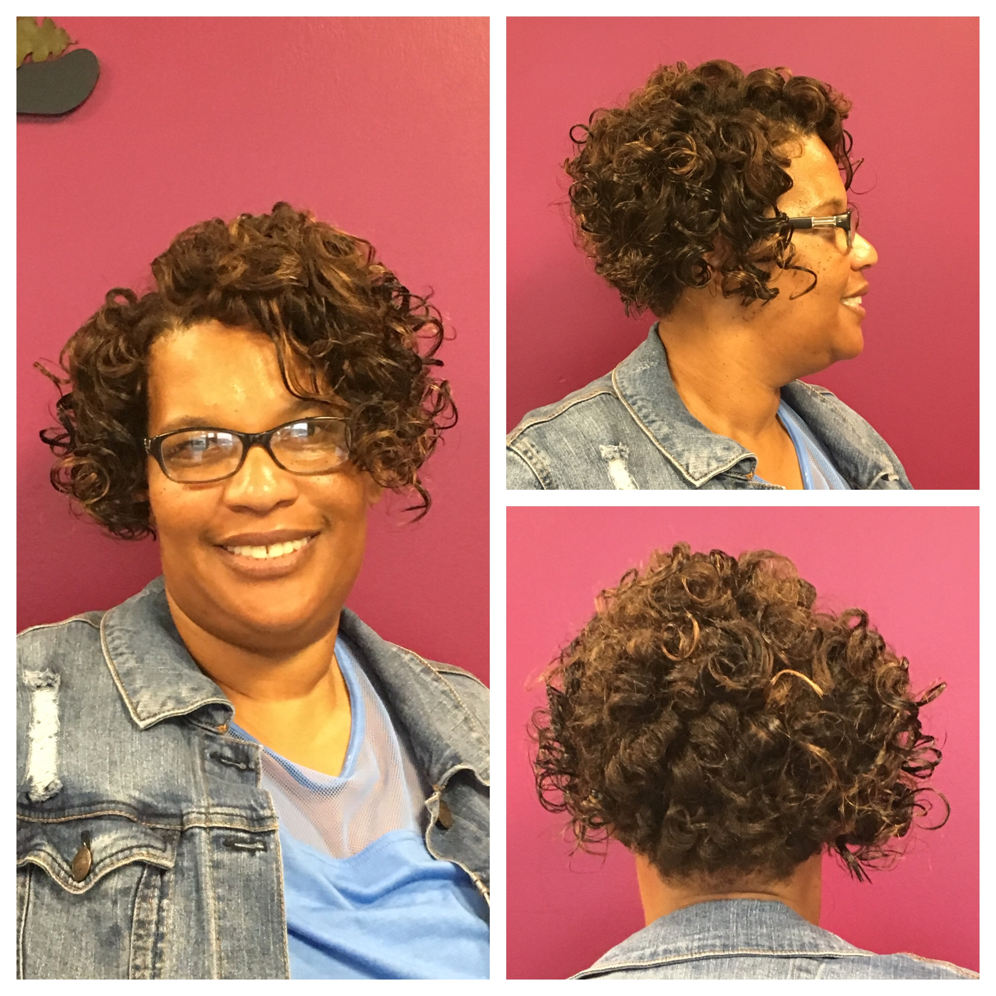 Stacked, curly bob with hair extensions from De Shaney Hair Collection by Deanna